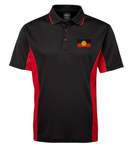 Aboriginal Flag Sports Polo (Black with Red Sides, Adult Sizes)