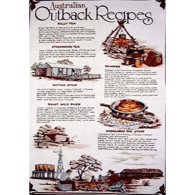 Australian Outback Recipes Souvenir Tea Towel