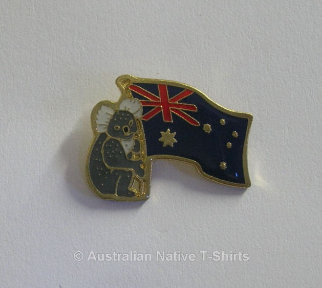Koala & Australian Flag Metal Badge