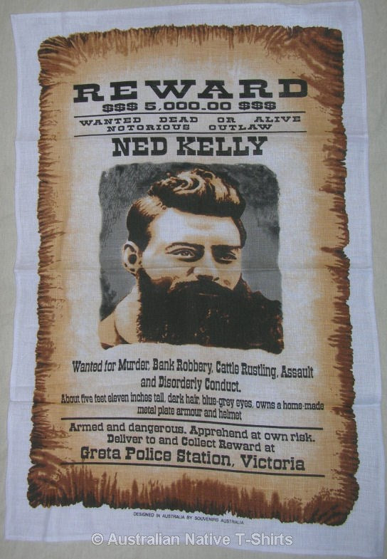 Ned Kelly Wanted Poster Souvenir Tea Towel