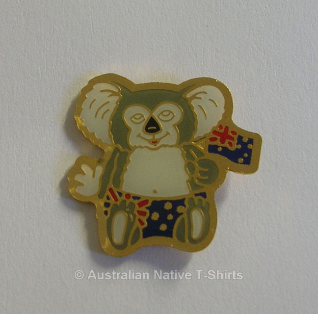 Koala In Shorts With Flag Metal Badge