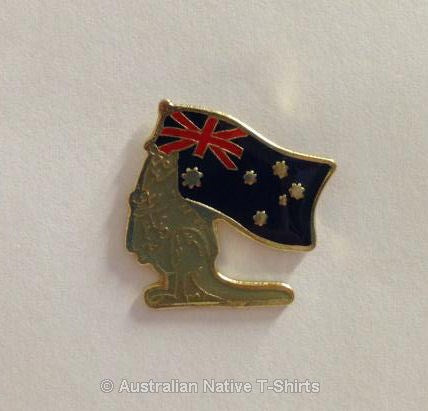 Kangaroo & Australian Flag Metal Badge