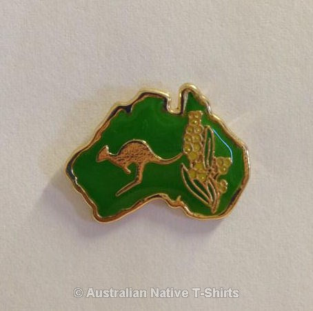 Australia Kangaroo & Wattle Metal Badge
