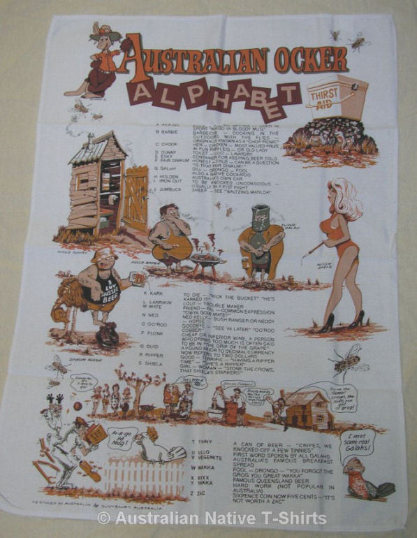 Aussie Ocker Alphabet Tea Towel