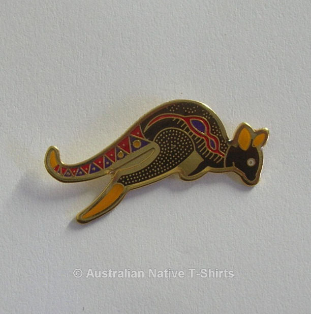 Dot Art Kangaroo Aboriginal Metal Badge