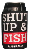 Shut Up & Fish Beer Can Holder (Black)