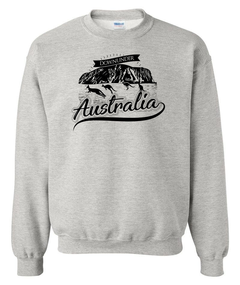 Australia Downunder Uluru Crew Neck Sweatshirt (Grey)
