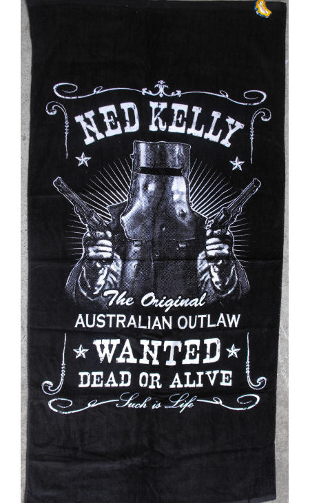 Ned Kelly Wanted Dead or Alive Beach Towel