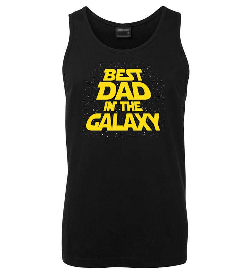 Best Dad in the Galaxy Mens Singlet (Black)