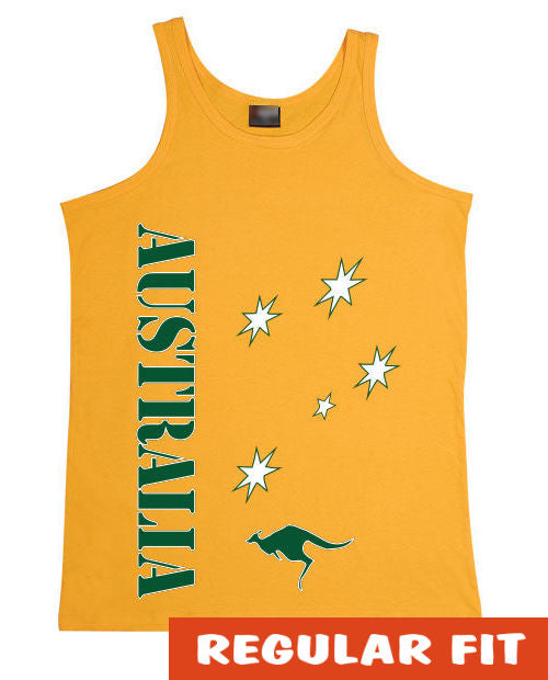 Aussie Sports Mens Singlet (Yellow Gold)