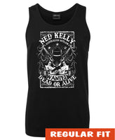 Ned Kelly Dead or Alive Mens Singlet (Black with White Print)