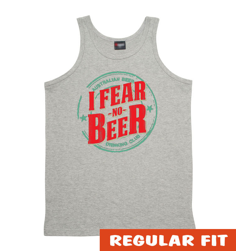 I Fear No Beer Mens Singlet (Light Grey & Mid-Grey)