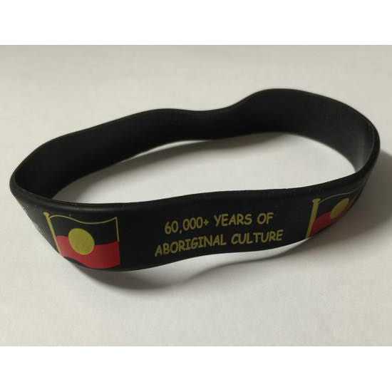 Aboriginal Flag Silicon Wristband
