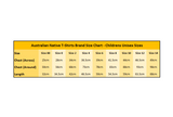 Australian Native T-Shirts - Childrens T-Shirt Size Chart