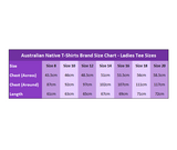 Australian Native T-Shirts Ladies Tee Size Chart