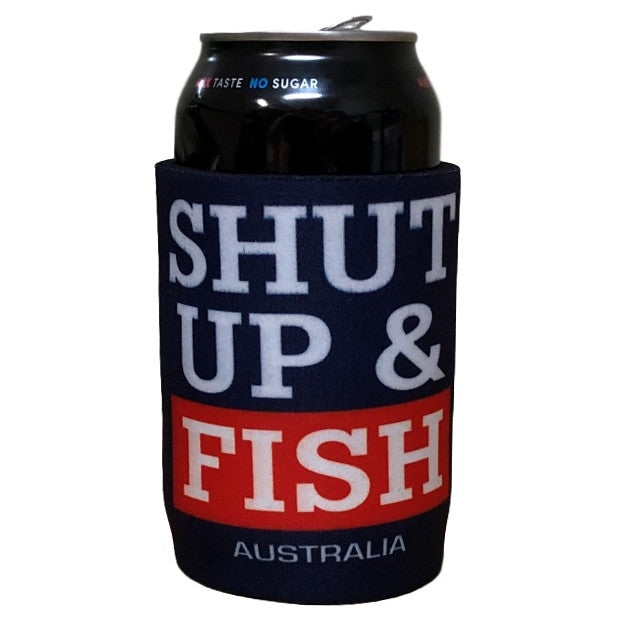 Shut Up & Fish Beer Can Holder (Navy)