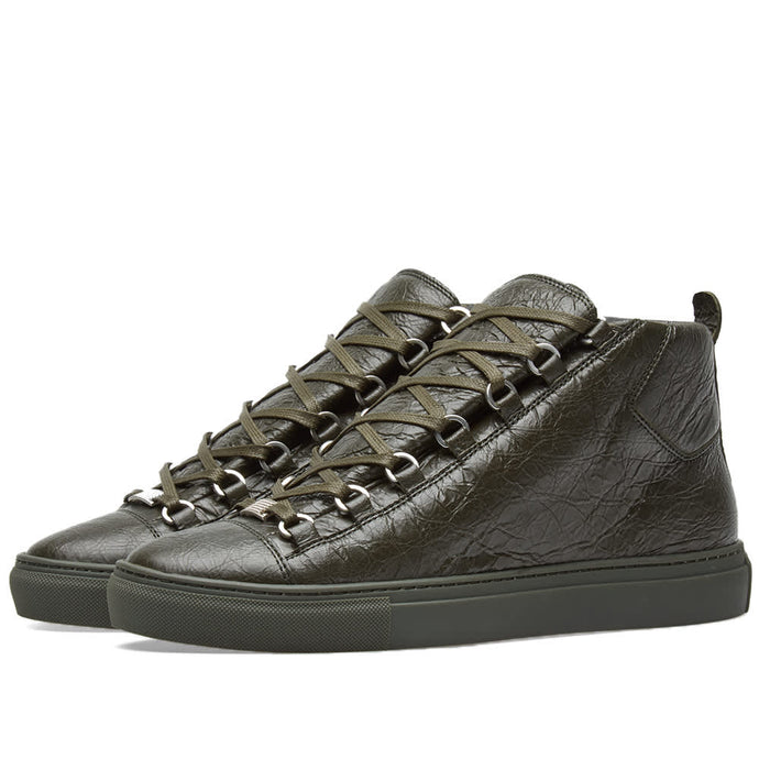 Balenciaga Arena Khaki Leather Sneakers