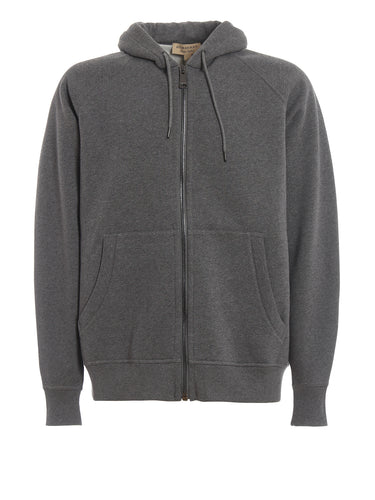 Burberry Grey Dunbridge Embroidered Zip Hoodie