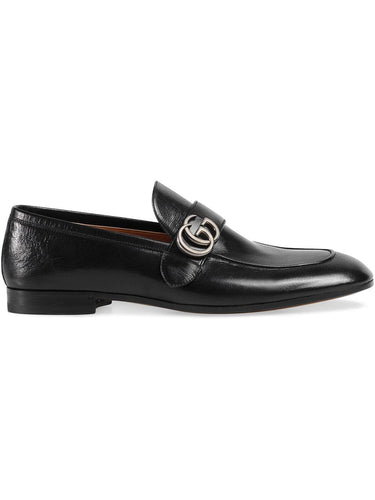 Gucci Black Leather GG Loafer