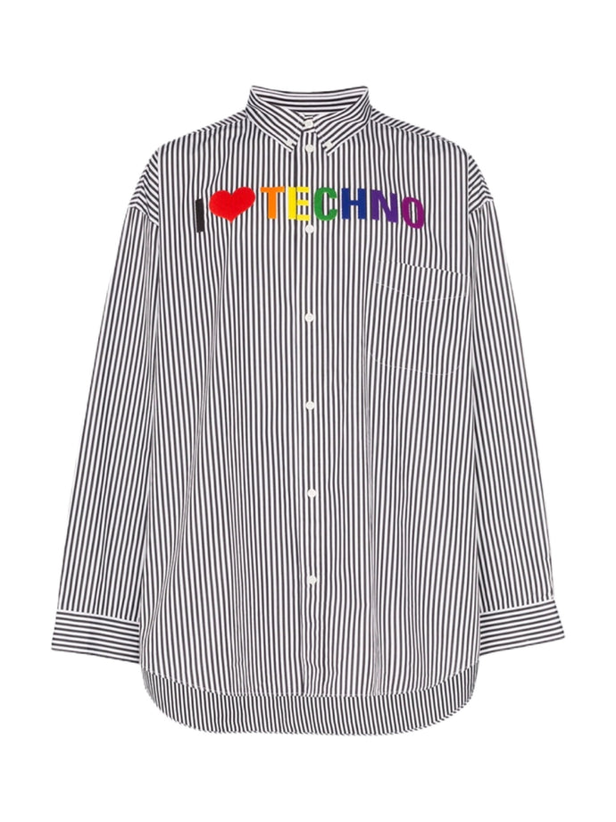 Balenciaga Embroidered 'Techno' Stripe Shirt