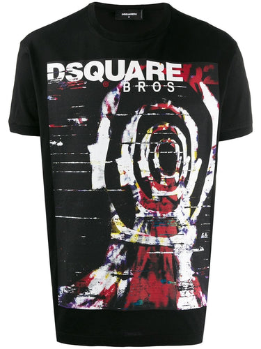 Dsquared2 Black Warp Logo Print T-shirt