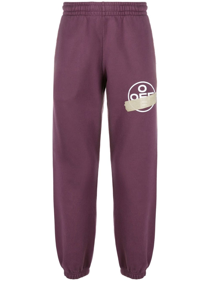 Off White Purple Tape Logo Sweatpants