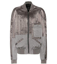 Haider Ackermann Grey Silk Panelled Bomber Jacket