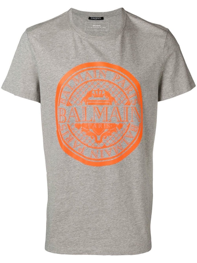 Balmain Grey Orange Logo T-shirt