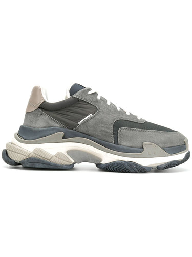 Balenciaga Grey Suede Triple S Sneakers