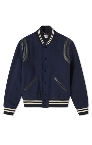 Saint Laurent Navy Wool Teddy Jacket