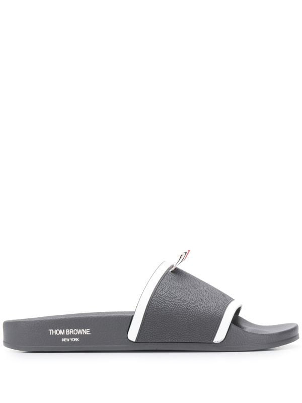 Thom Browne Grey Logo Pool Slides