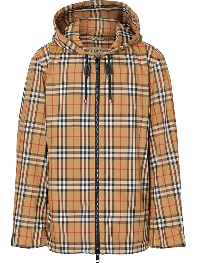 Burberry Checked Hooded Waterproof Jacket
