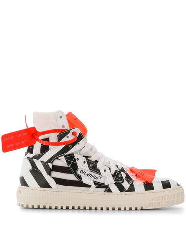 Off White Striped 3.0 Court High Sneakers
