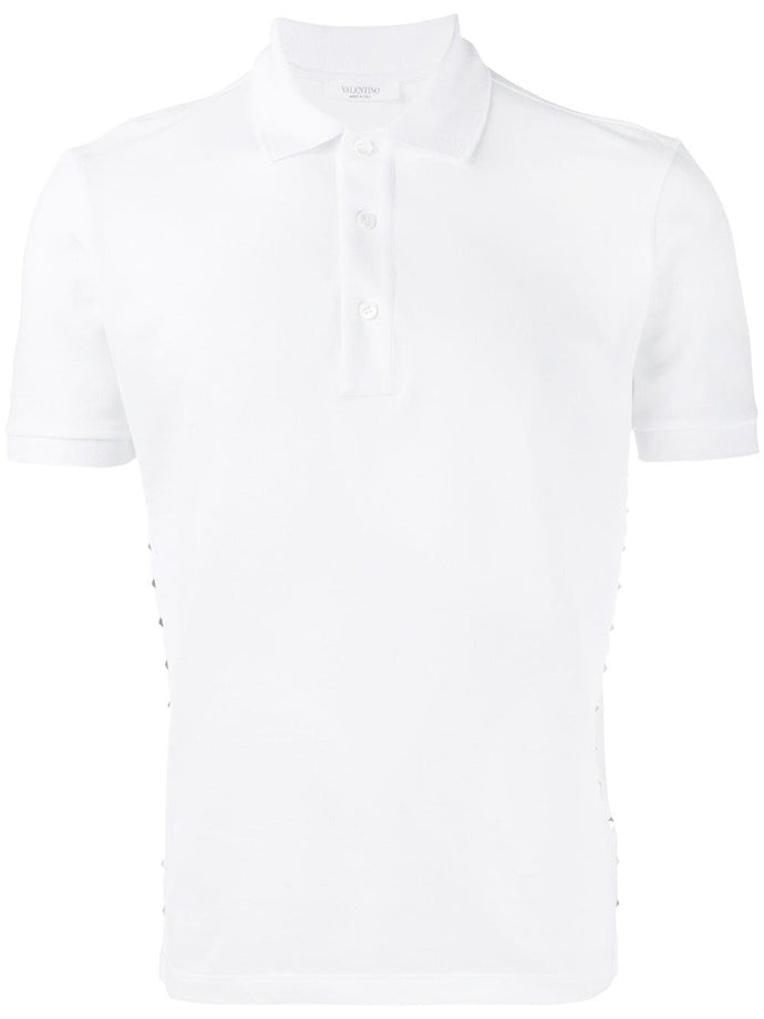 Valentino 16 White Rock Stud Polo Shirt