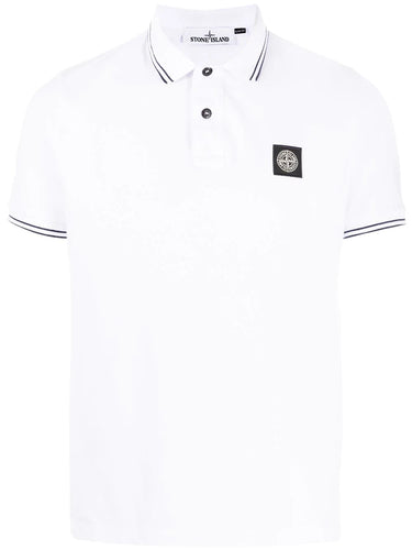 Stone Island White Logo Patch Polo Shirt