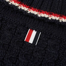 Thom Browne Navy Aran Wool Cable Knit Turtleneck Sweater