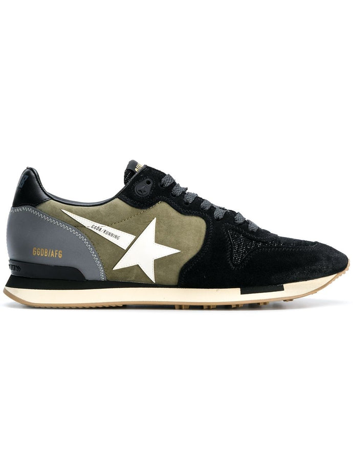 Golden Goose Khaki Black Suede Runner Sneakers