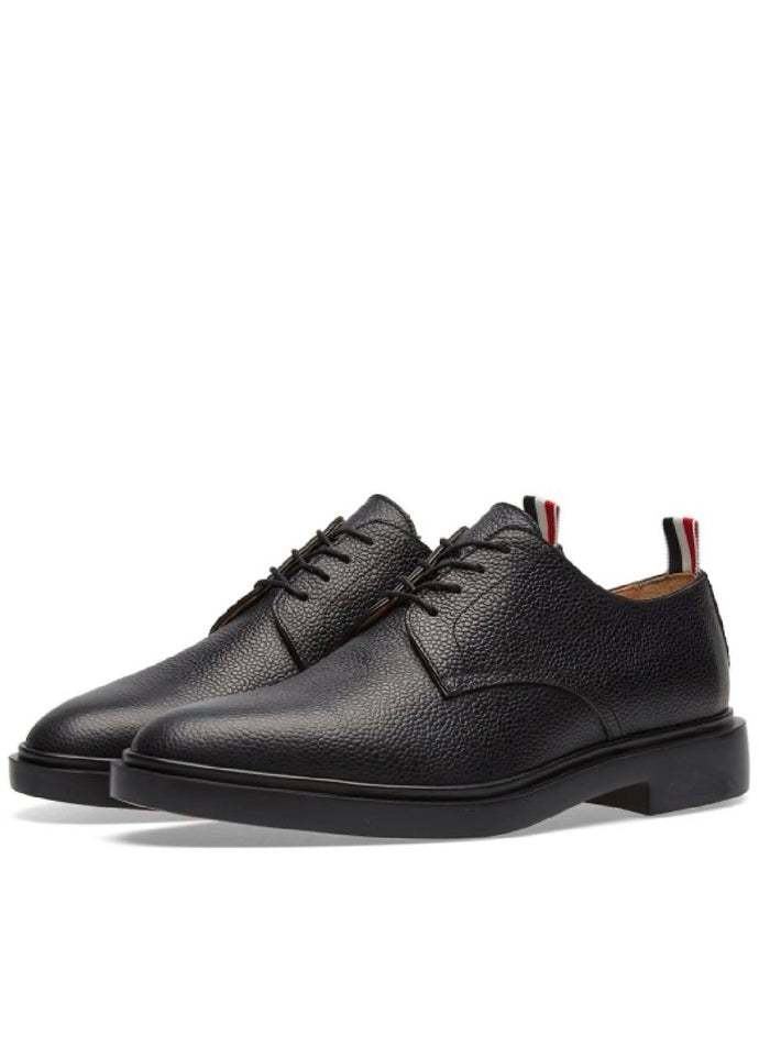 Thom Browne Black Pebble Grain Leather Derby Shoes
