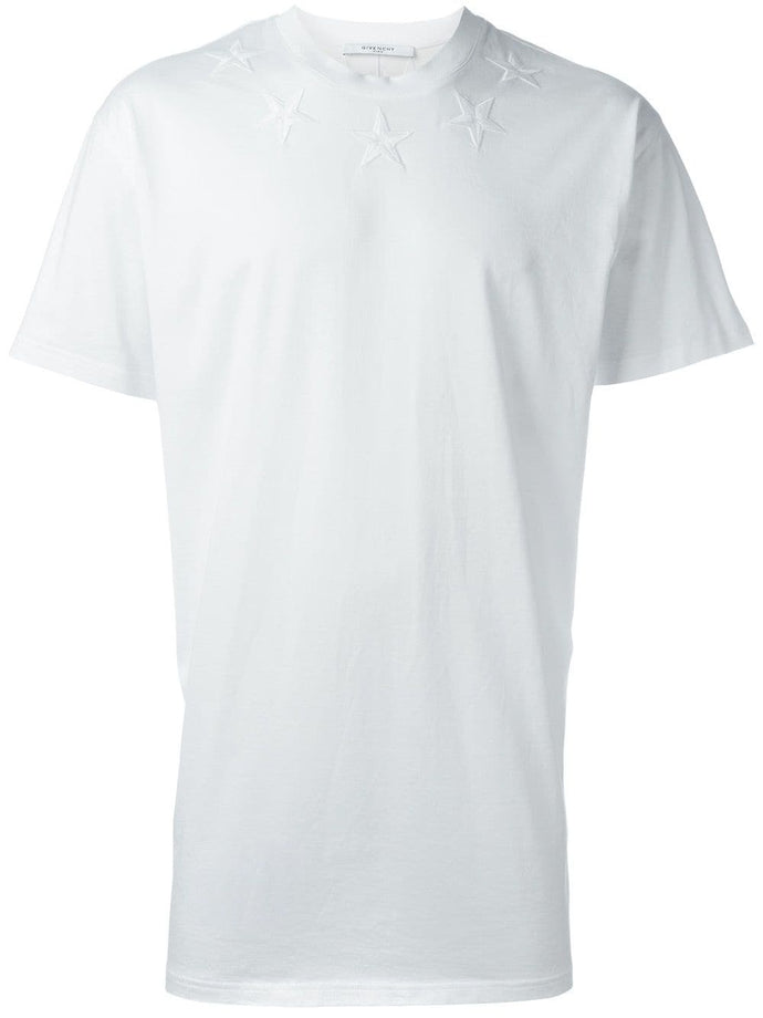 Givenchy White Star Embroidered T-shirt
