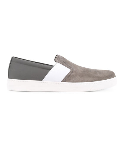Prada Grey Suede Slip On Sneakers