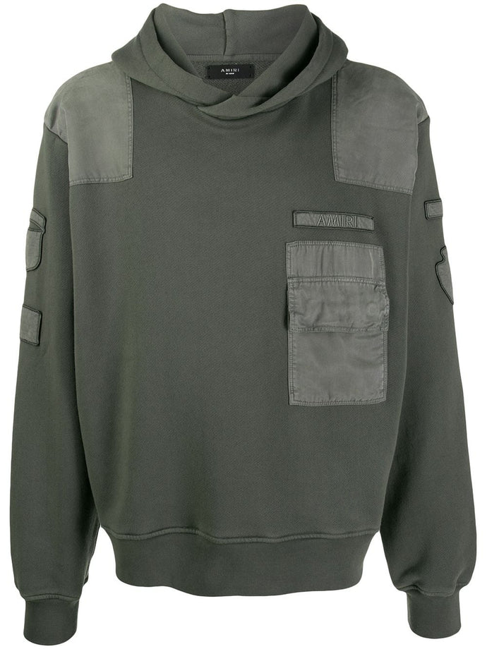 Amiri Military Green Commando Patch Jersey Hoodie