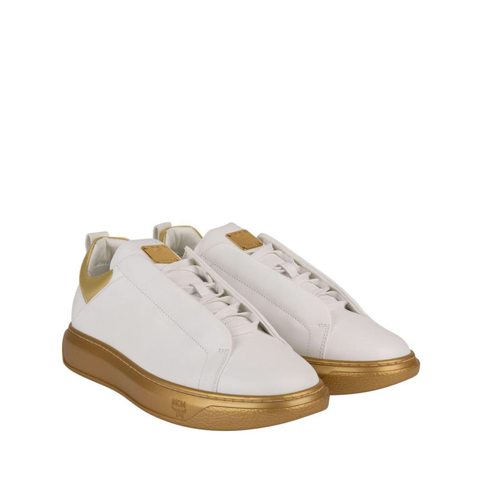 MCM White Gold Visetos Sneakers