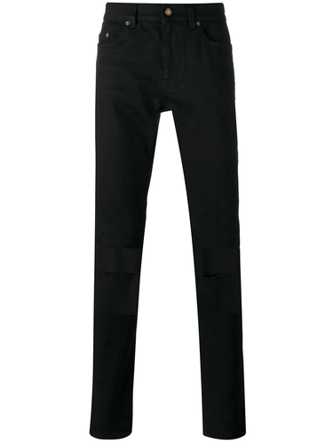 Saint Laurent D02 Black Knee Rip Denim Jeans