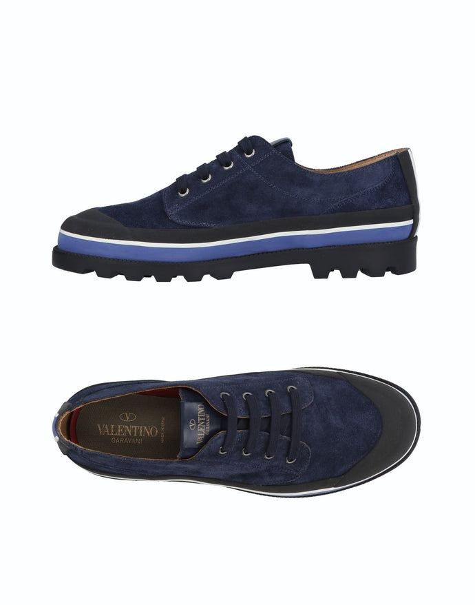 Valentino Navy Suede Rubber Lace Shoes