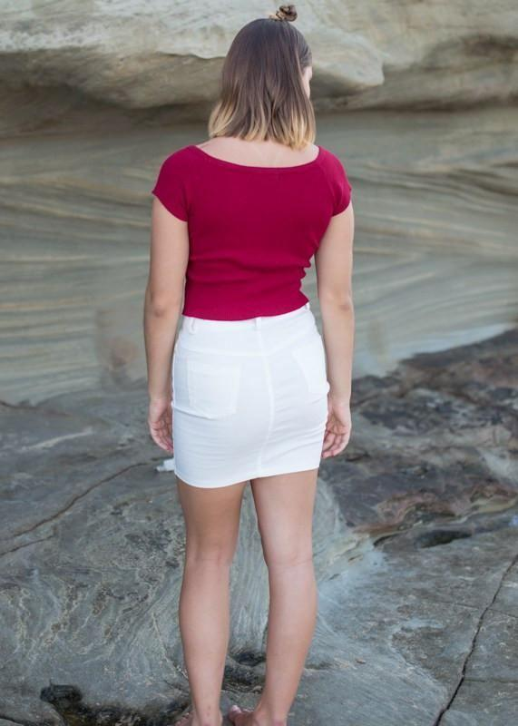 Audrey Crop - Red - - Clothing