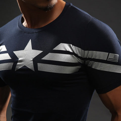 Captain America Navy Compression T-Shirt S/S - GeekGroks