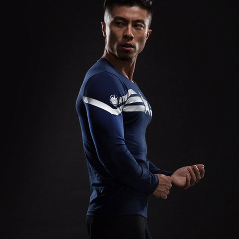 Captain America Navy Compression T-Shirt L/S - GeekGroks
