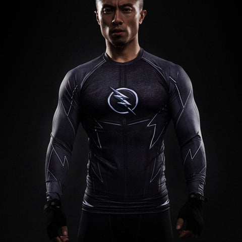The Flash Black Compression T-Shirt L/S - GeekGroks