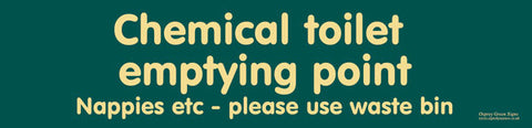 'Chemical toilet emptying point - nappies etc' sign