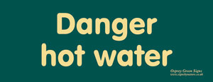 'Danger hot water' sign